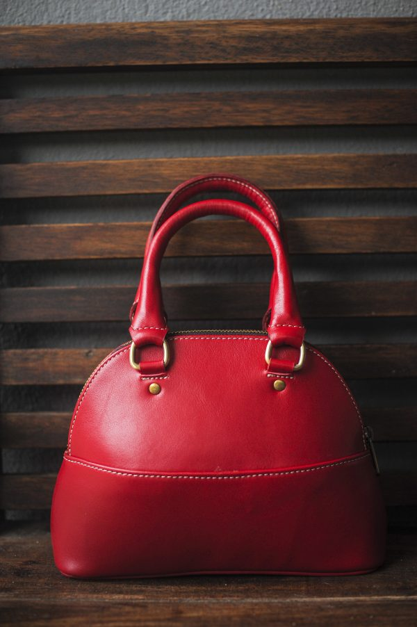 red women leather hand bag