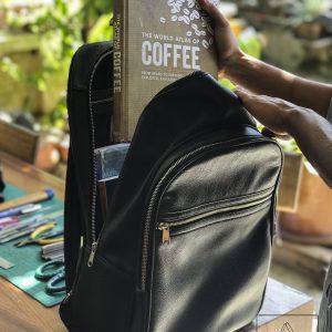 balo da, black leather backpack in hoi an