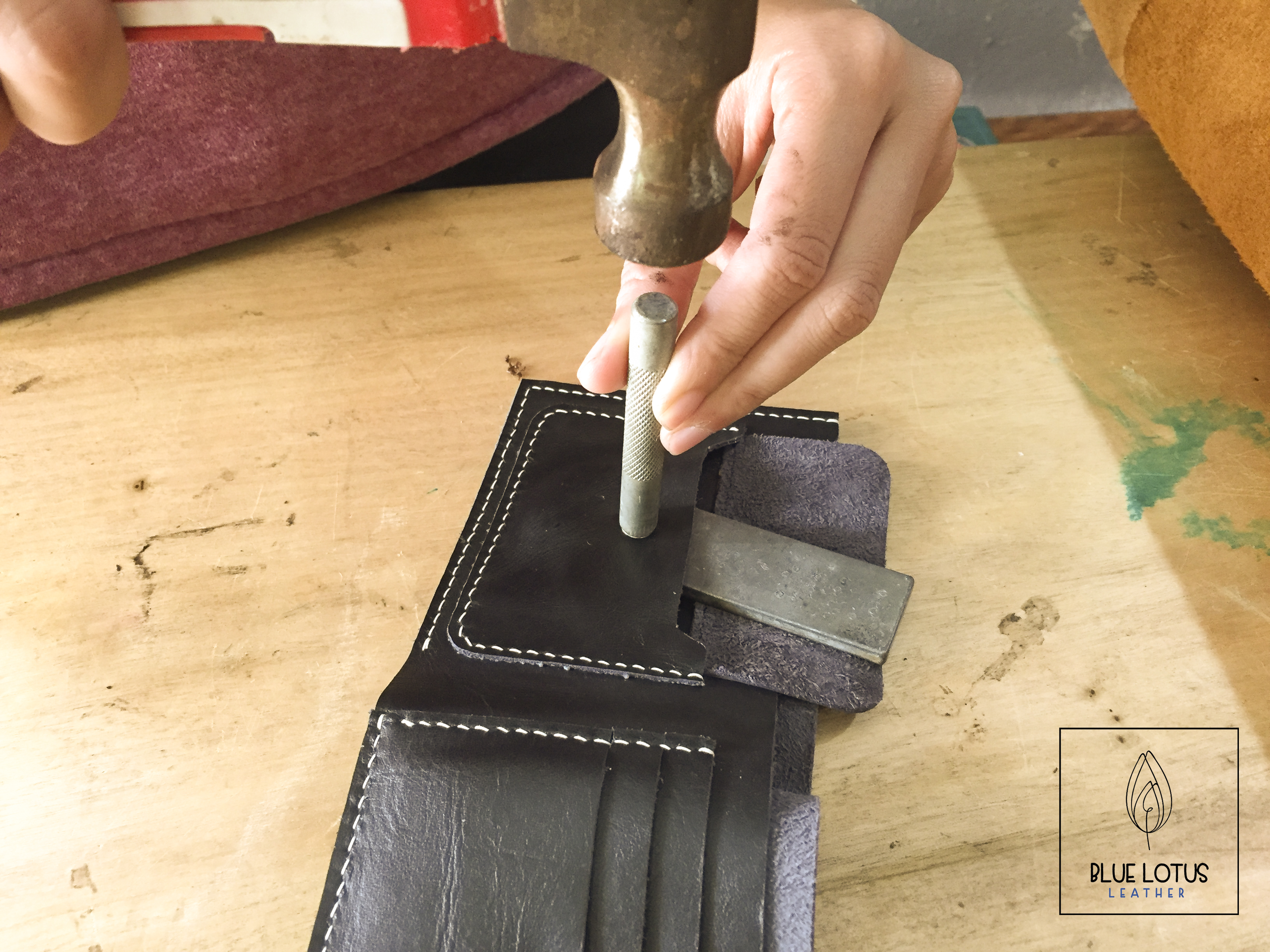 how to make DIY leather handmade men wallet